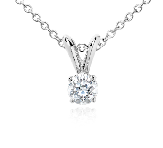 18k White Gold Four-Claw Diamond Pendant (1/3 ct. tw.)