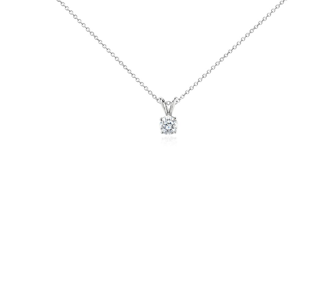 Diamond Solitaire Pendant in 18k White Gold (3/4 ct. tw.)