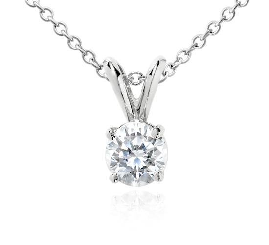 Pendentif solitaire diamant en or blanc 18carats (3/4carat, poids total)