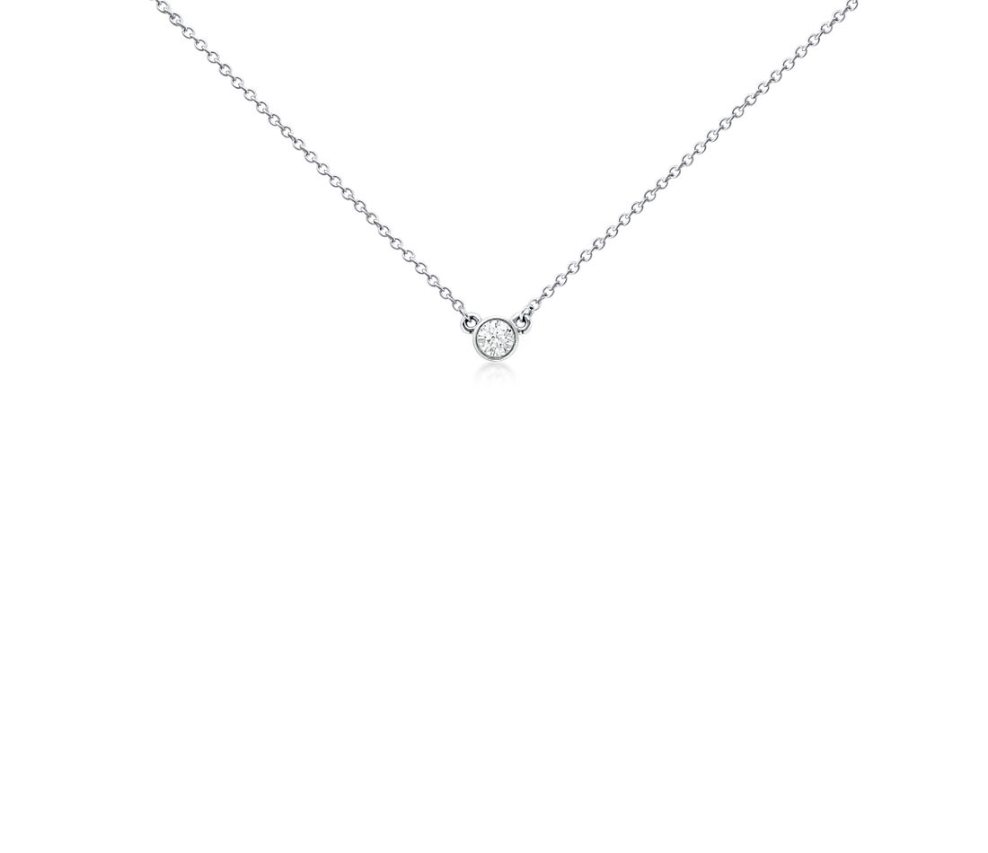 Bezel-Set Diamond Solitaire Pendant in 18k White Gold (1/3 ct. tw.)