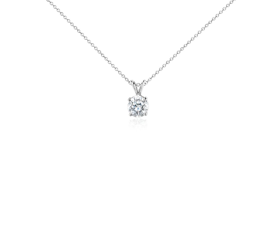 Diamond Solitaire Pendant in 18k White Gold (2 ct. tw.)
