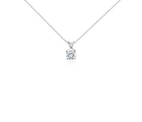 18k 白金钻石单石吊坠项链<br>(2 克拉总重量)