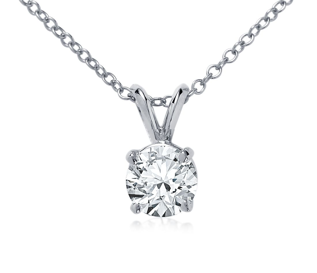 Double Bail Solitaire Pendant Setting In 18k White Gold