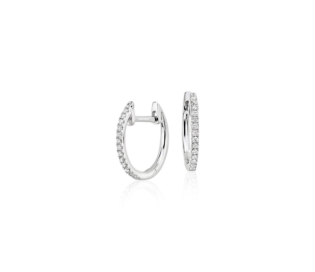 Petite Diamond Huggie Hoop Earrings 14K White Gold