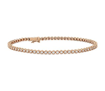 Petite Diamond Milgrain Tennis Bracelet in 14k Rose Gold
