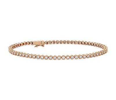 Petite Diamond Milgrain Tennis Bracelet in 14k Rose Gold