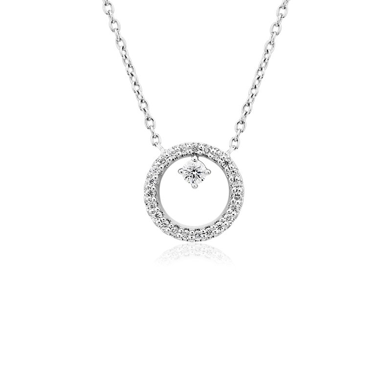 Diamond Petite Circle with Accent Pendant in 14k White Gold (1/10