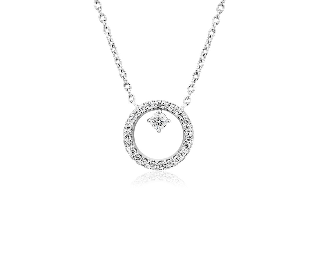 Diamond Petite Circle with Accent Pendant in 14k White Gold (1/10 ct. tw.)