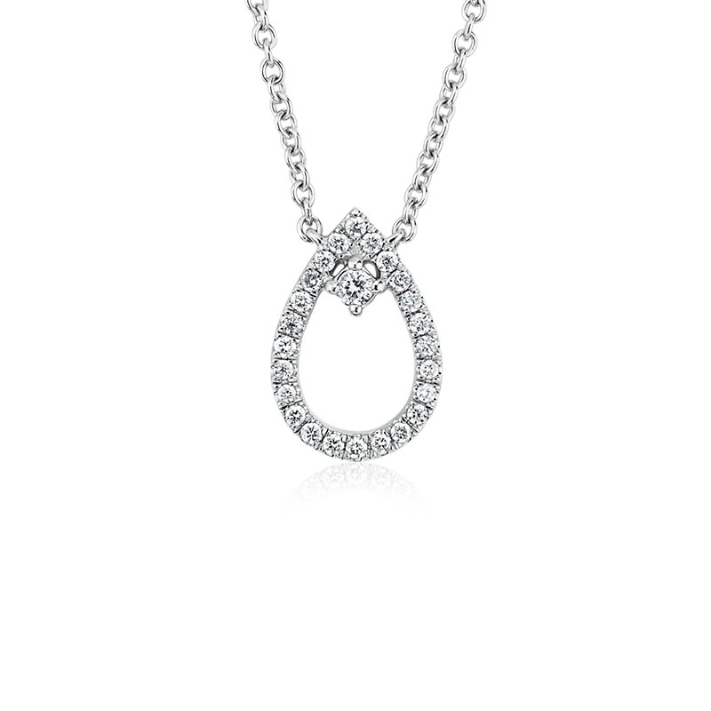 Diamond Petite Pear with Accent Pendant in 14k White Gold (1/10 c