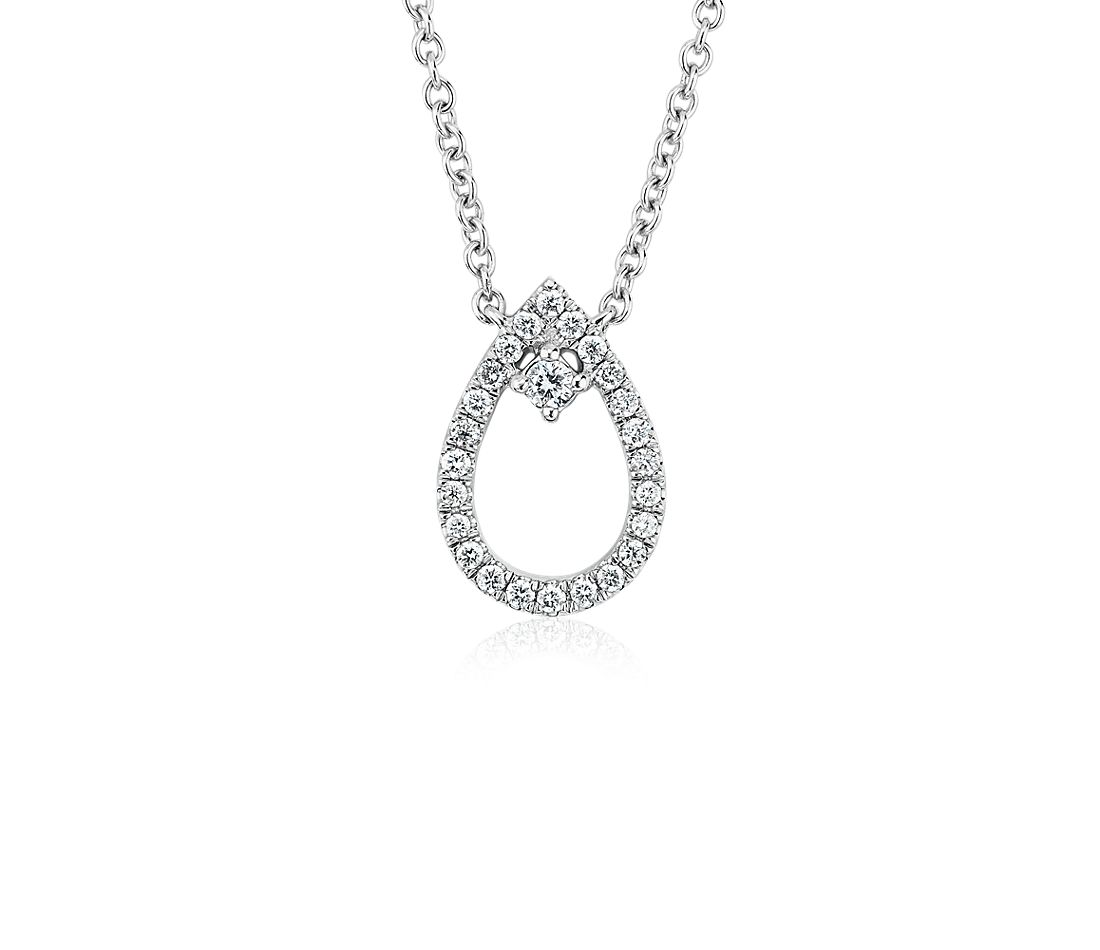 Diamond Petite Pear with Accent Pendant in 14k White Gold (1/10 ct. tw.)