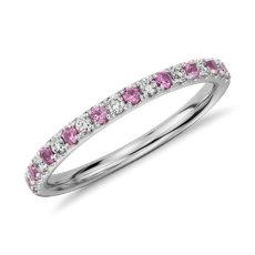 Anillo de pavé de diamantes y zafiro rosado en oro blanco de 14k