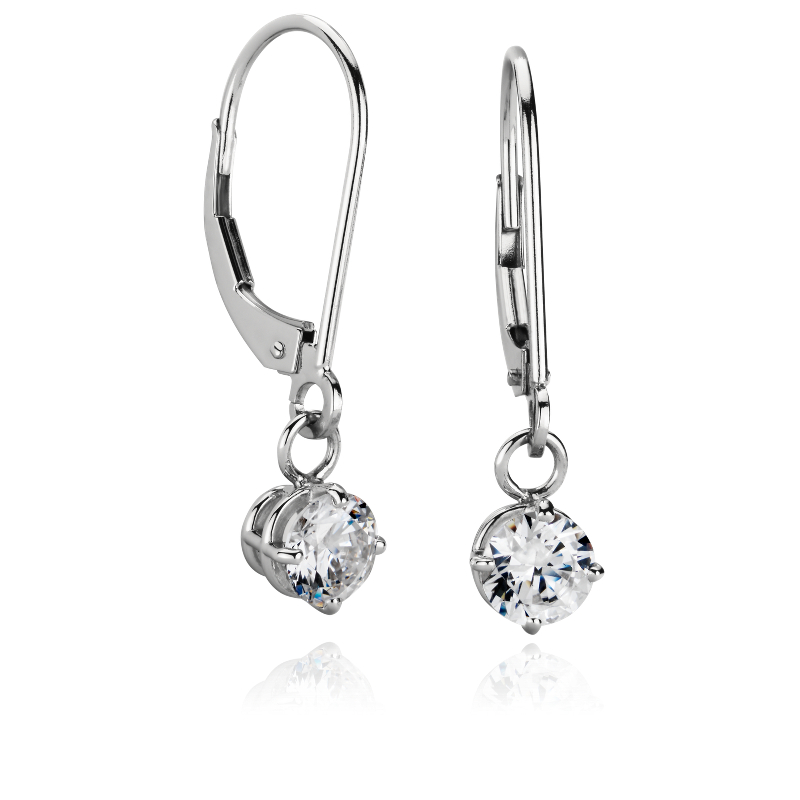 Four-Prong Leverback Drop Earrings in Platinum