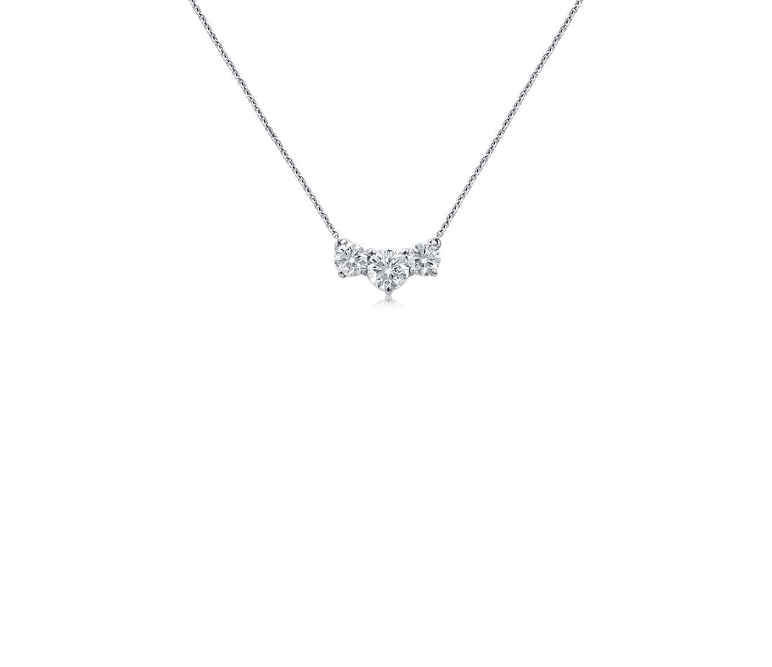 Premier Three-Stone Diamond Necklace in Platinum (1.45 ct. tw.)
