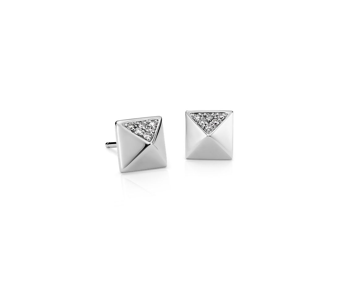 822a3becb4870 Diamond Pyramid Stud Earrings in 14k White Gold