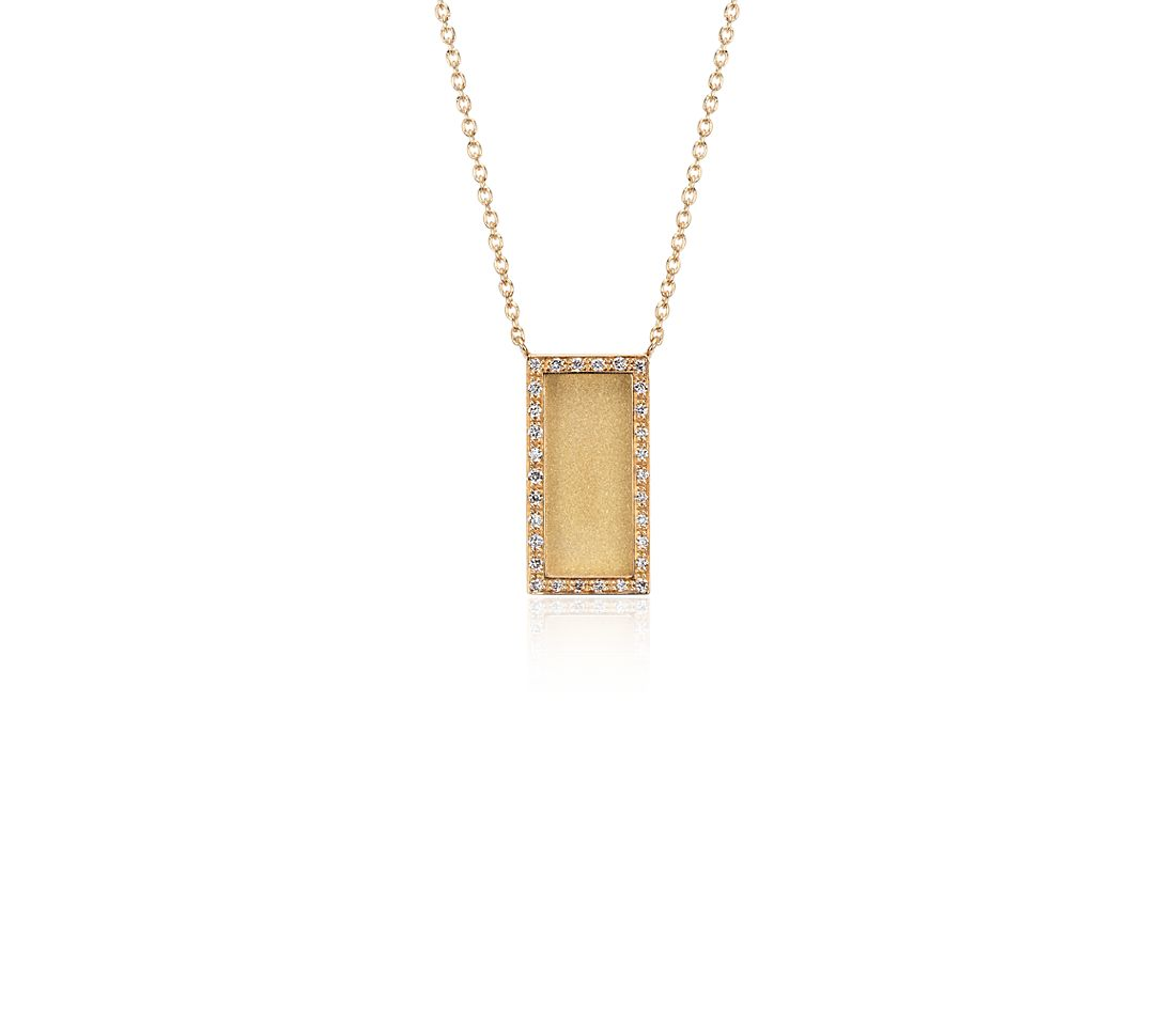Satin Diamond Rectangle Necklace In 14k Yellow Gold 1 10