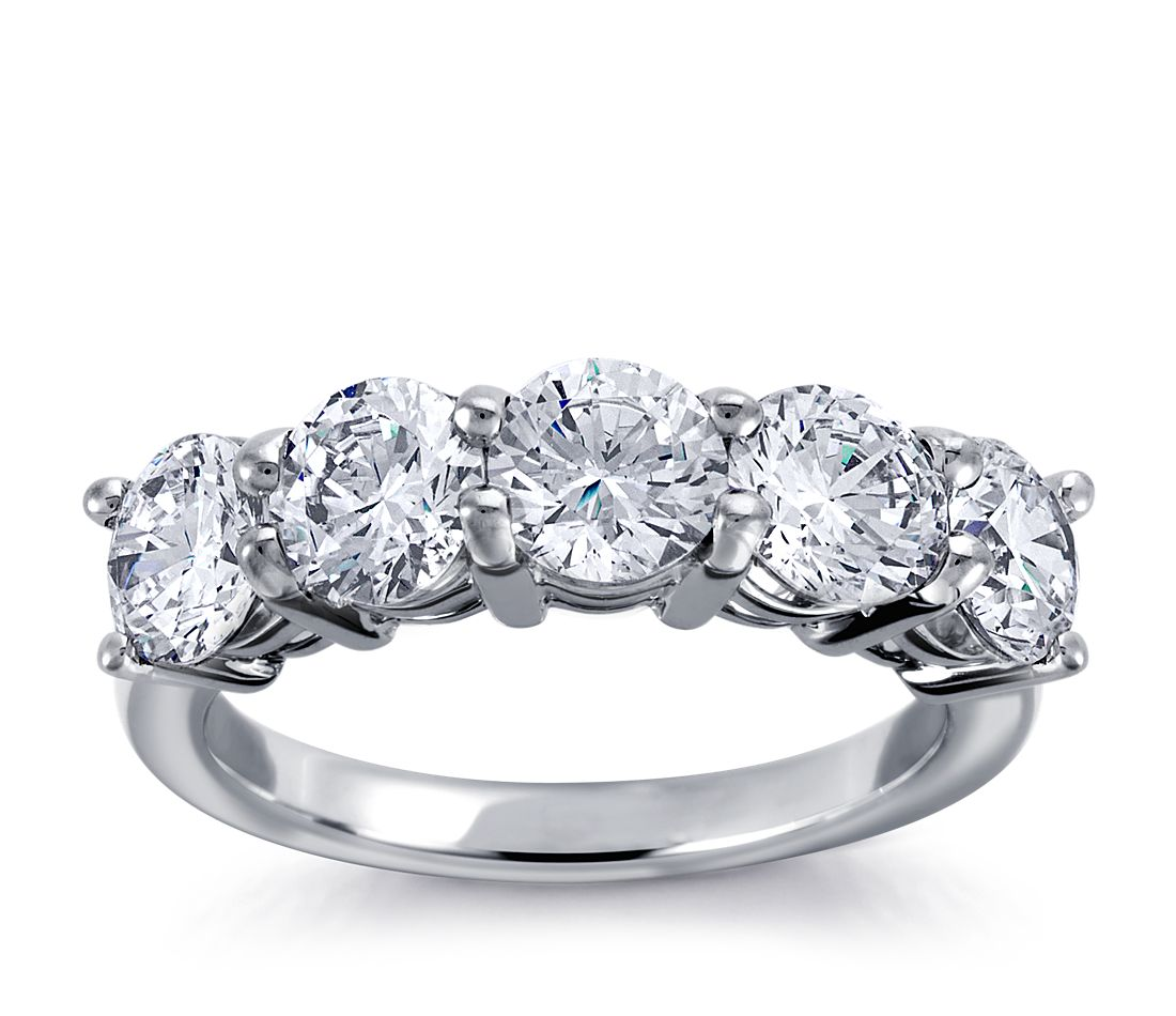 Engagement Rings No Stone: Classic Five-Stone Diamond Ring In 18k White Gold