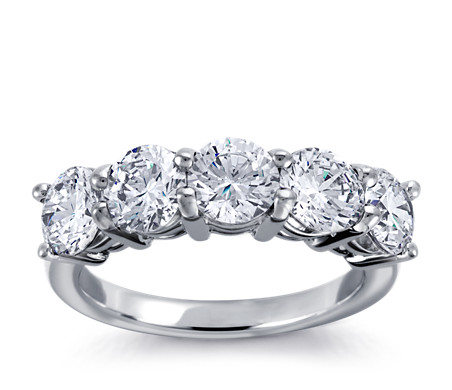 Classic Five-Stone Diamond Ring in 18k White Gold