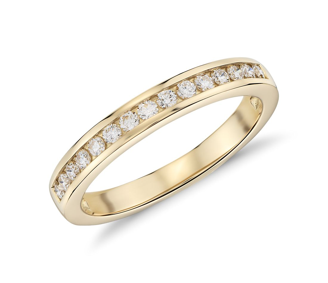 channel set ring in 18k yellow gold 1 4 ct tw