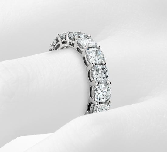 Cushion Cut Diamond Eternity Ring in Platinum (5 ct. tw.)