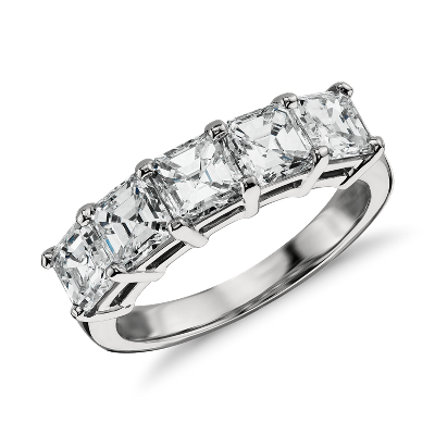 Classic Asscher Cut Five Stone Diamond Ring in Platinum 2 12 ct