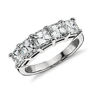 Classic Asscher Cut Five Stone Diamond Ring in Platinum (2 1/2 ct. tw.)