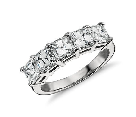 bands three stone princess ce engagement wedding ring trilogy diamond white band deluxe gold