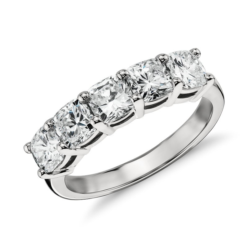 Classic Cushion Cut Five Stone Diamond Ring in Platinum (2 ct. tw.)