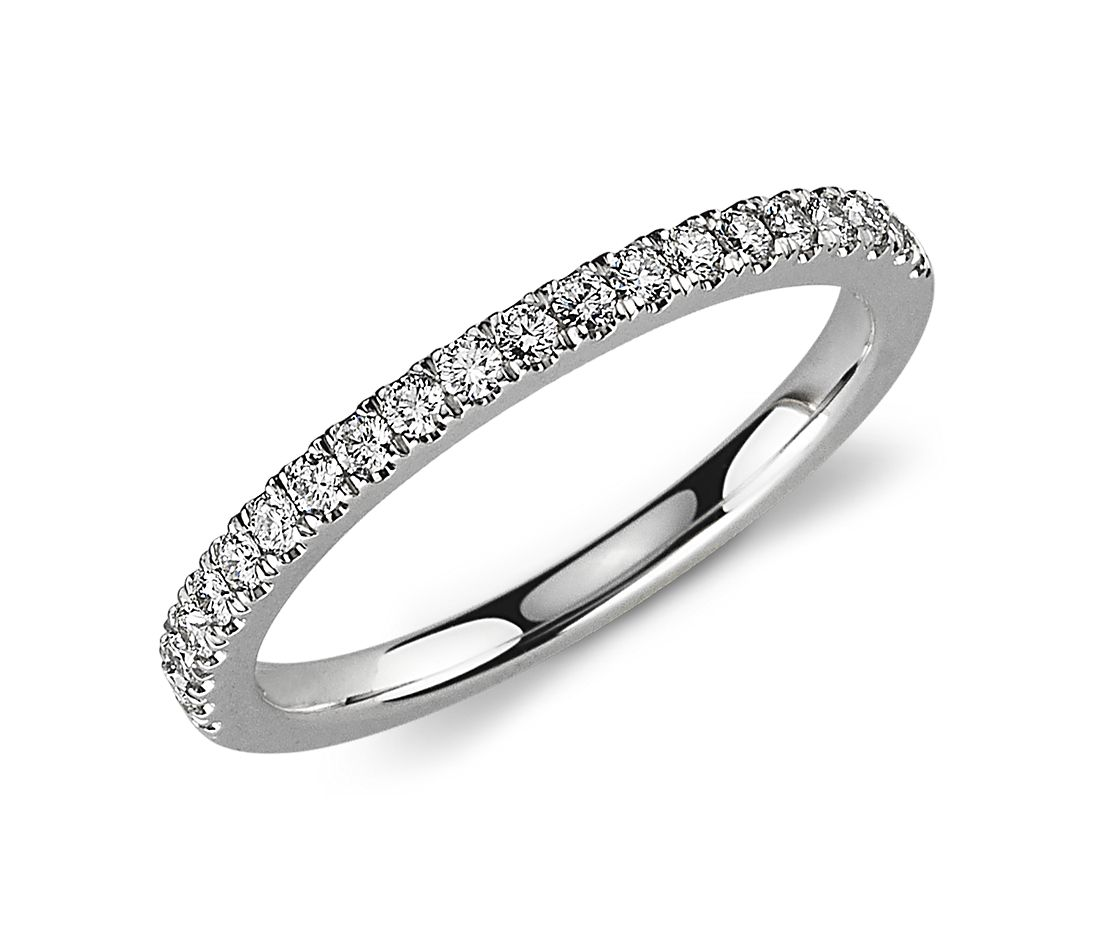 womens wedding rings platinum wedding band Petite Pav Diamond Ring in Platinum 1 3 ct tw