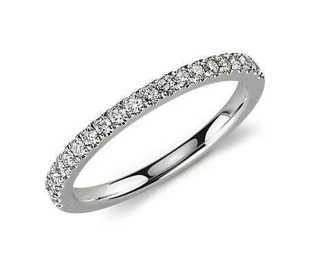 Petite Pavé Diamond Ring in Platinum