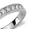 Milgrained Pavé Diamond Ring in Platinum (1/4 ct. tw.)