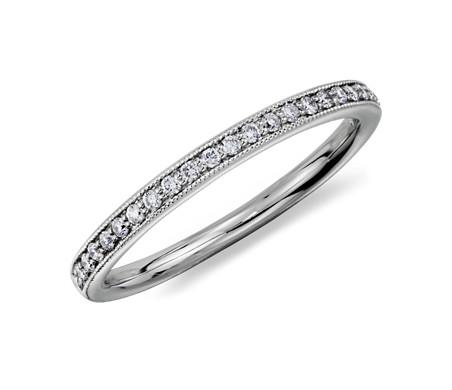 Petite bague en diamants sertis pavé bijou de famille en platine