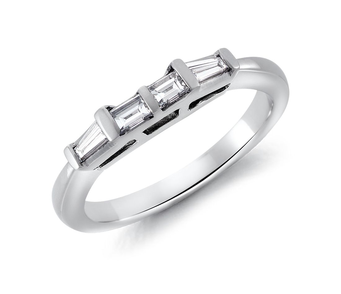 Classic Tapered Baguette Diamond Ring In Platinum 1 3 Ct