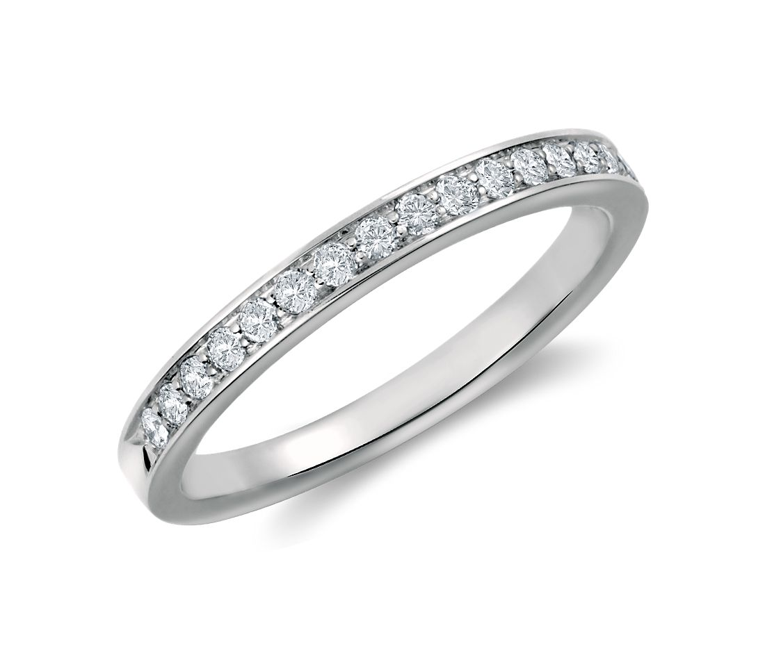 Cathedral Pavé Diamond Ring in Platinum