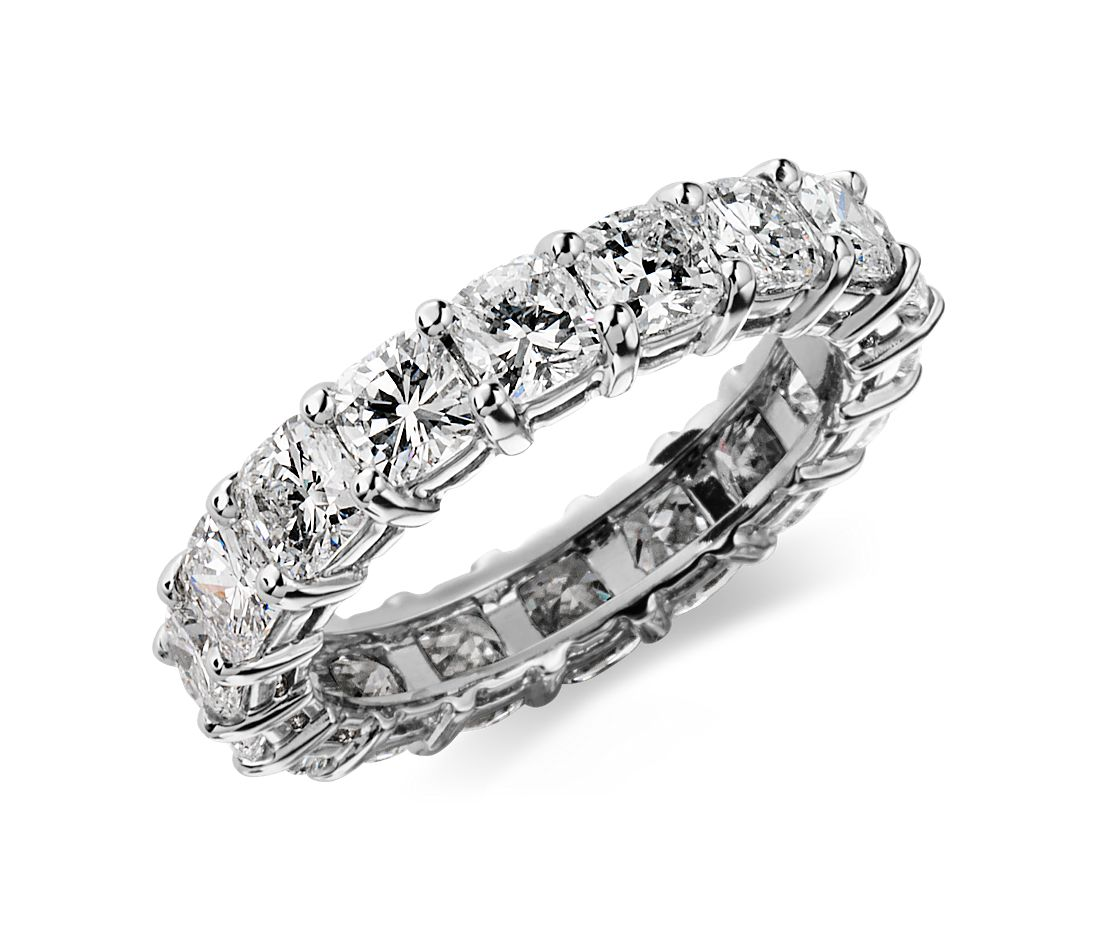 Cushion Cut Diamond Eternity Ring In Platinum 4 1 2 Ct Tw