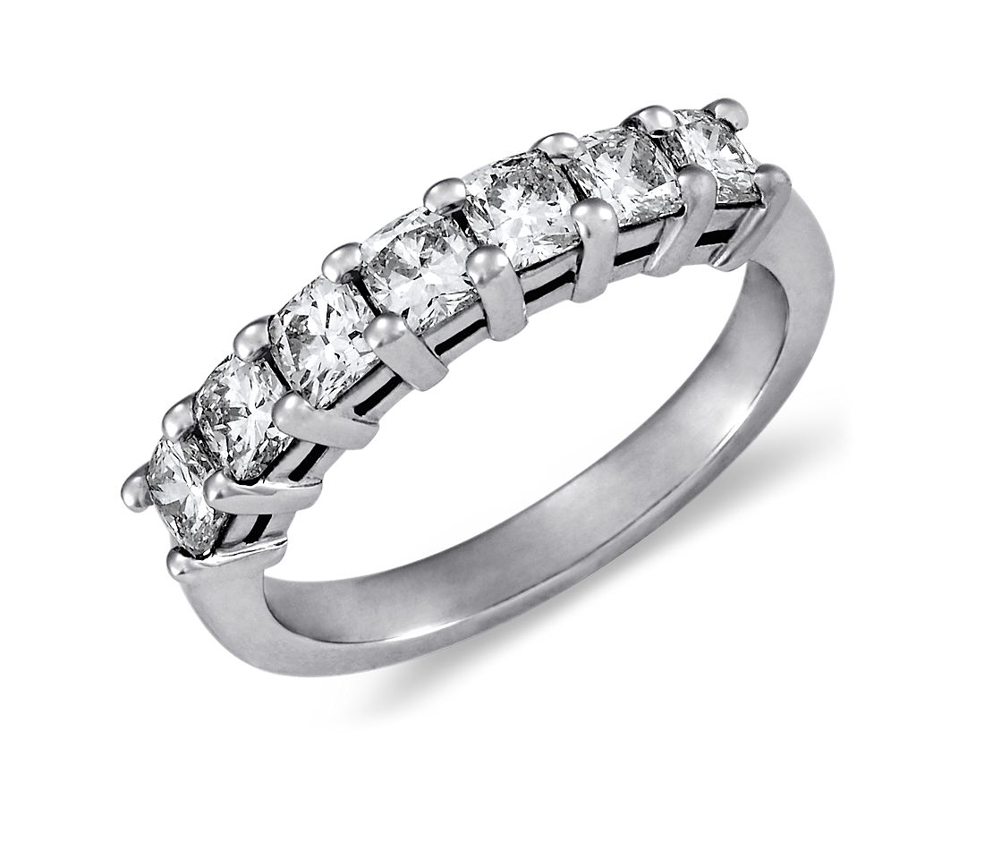 Crossed Wedding Bands.Classic Cushion Cut Seven Stone Diamond Ring In Platinum 1 Ct Tw