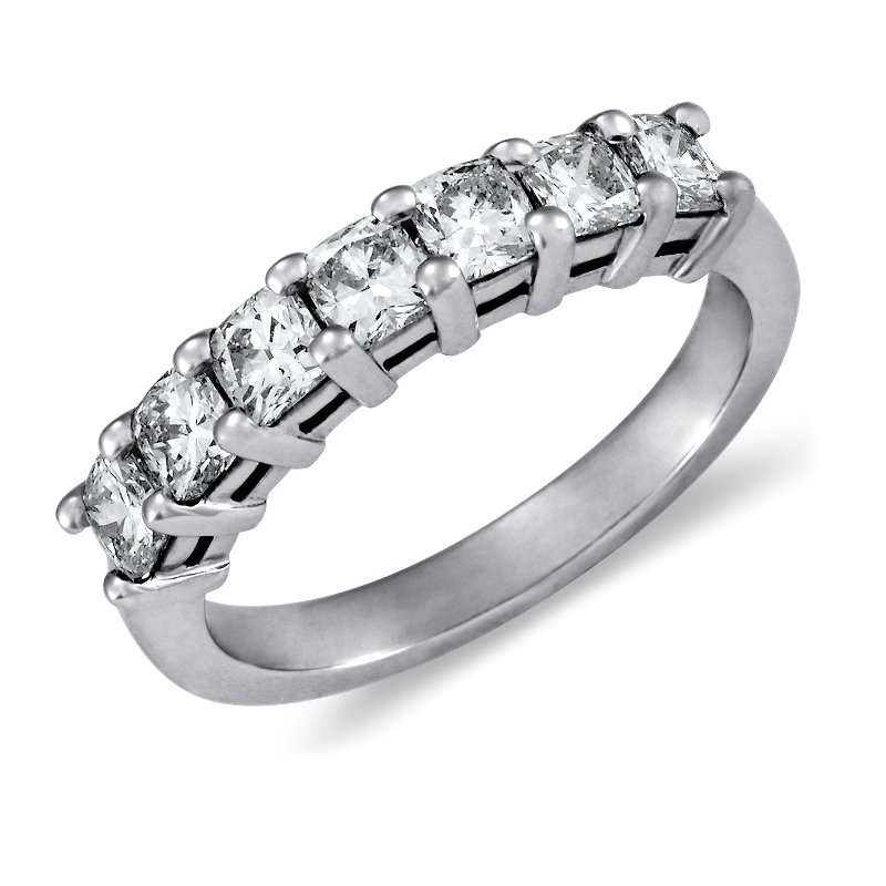 Classic Cushion Cut Seven Stone Diamond Ring in Platinum (1 ct. t