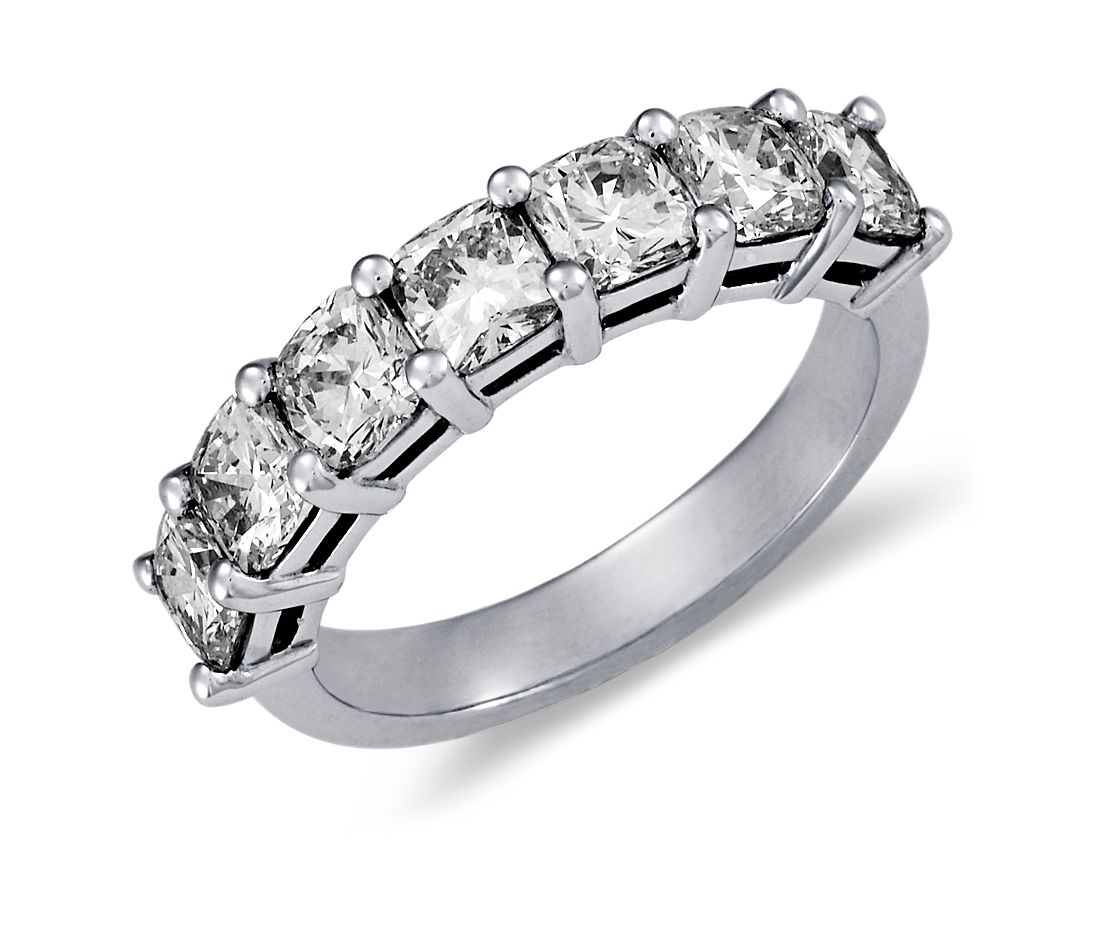 Clic Cushion Cut Seven Stone Diamond Ring In Platinum 2 Ct Tw