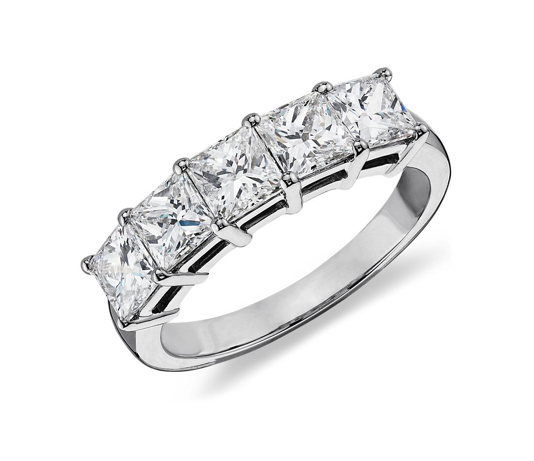 classic princess cut five stone diamond ring in platinum. Black Bedroom Furniture Sets. Home Design Ideas