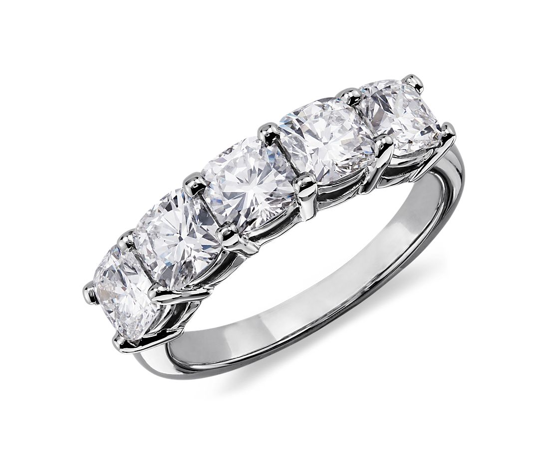 Classic Cushion Cut Five Stone Diamond Ring In Platinum 2