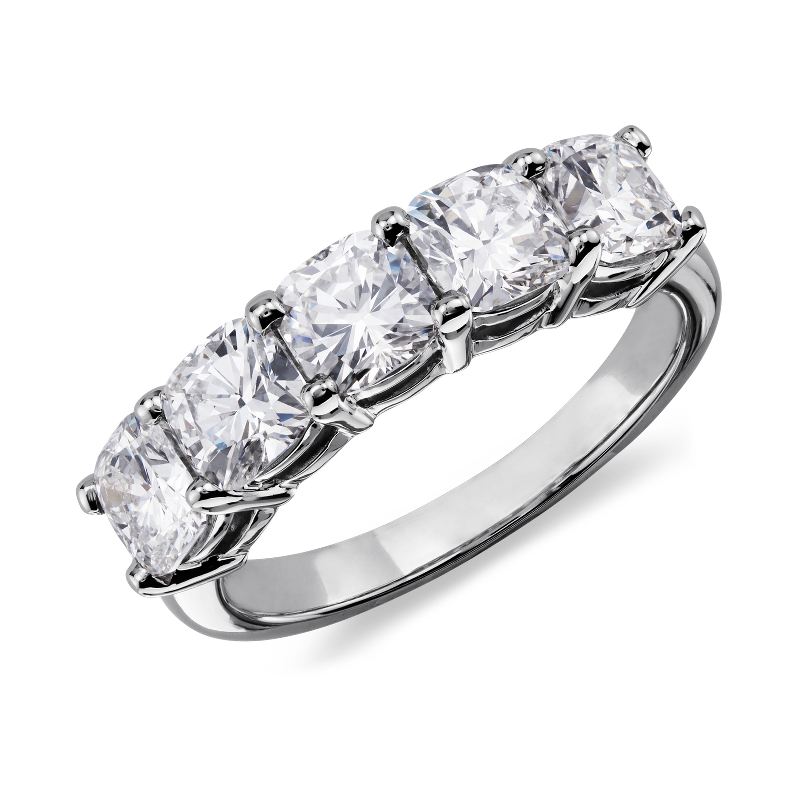 Classic Cushion Cut Five Stone Diamond Ring in Platinum (2 1/2 ct