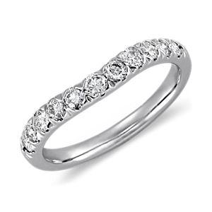 Curved Pavé Diamond Ring in Platinum (1/2 ct. tw.)