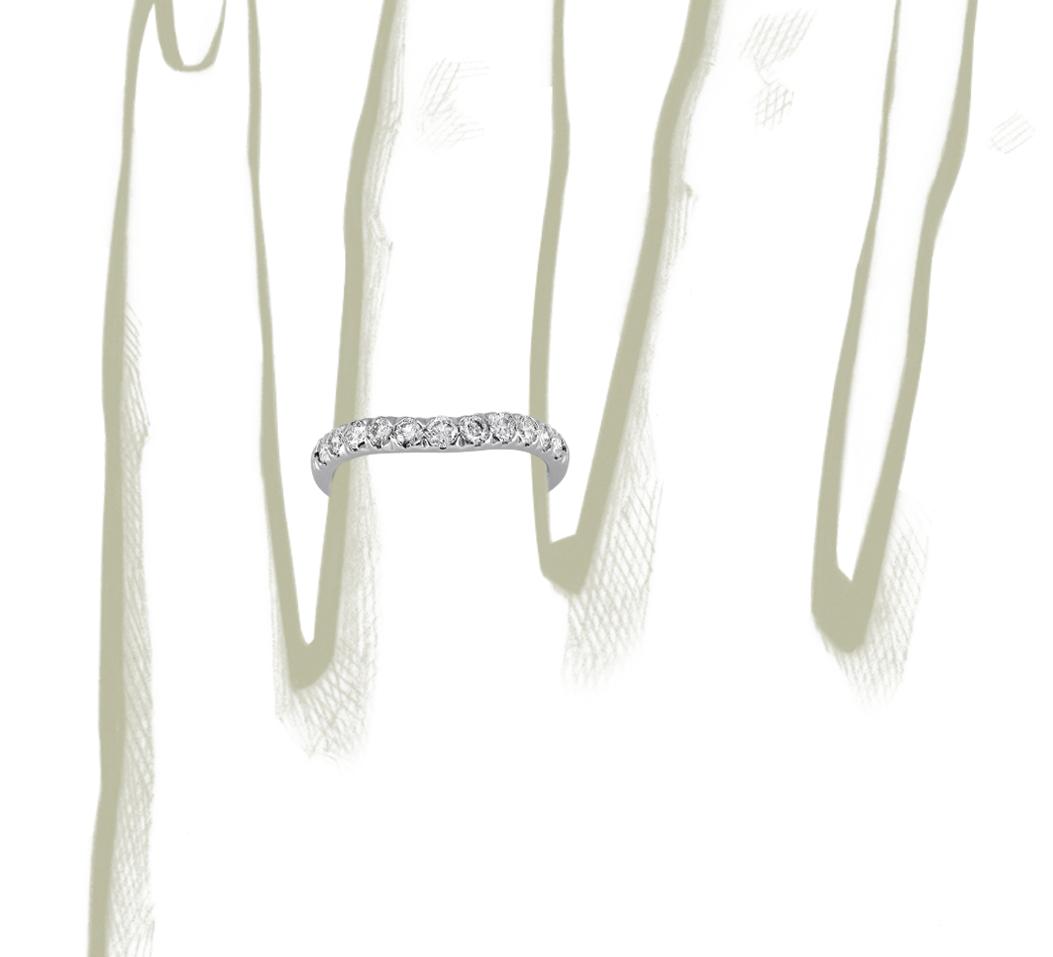 Bague en diamants sertis pavé incurvés en platine (1/2carat, poids total)