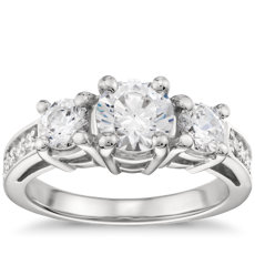 Three Stone Pavé Diamond Engagement Ring in Platinum (0.23 ct. tw.)