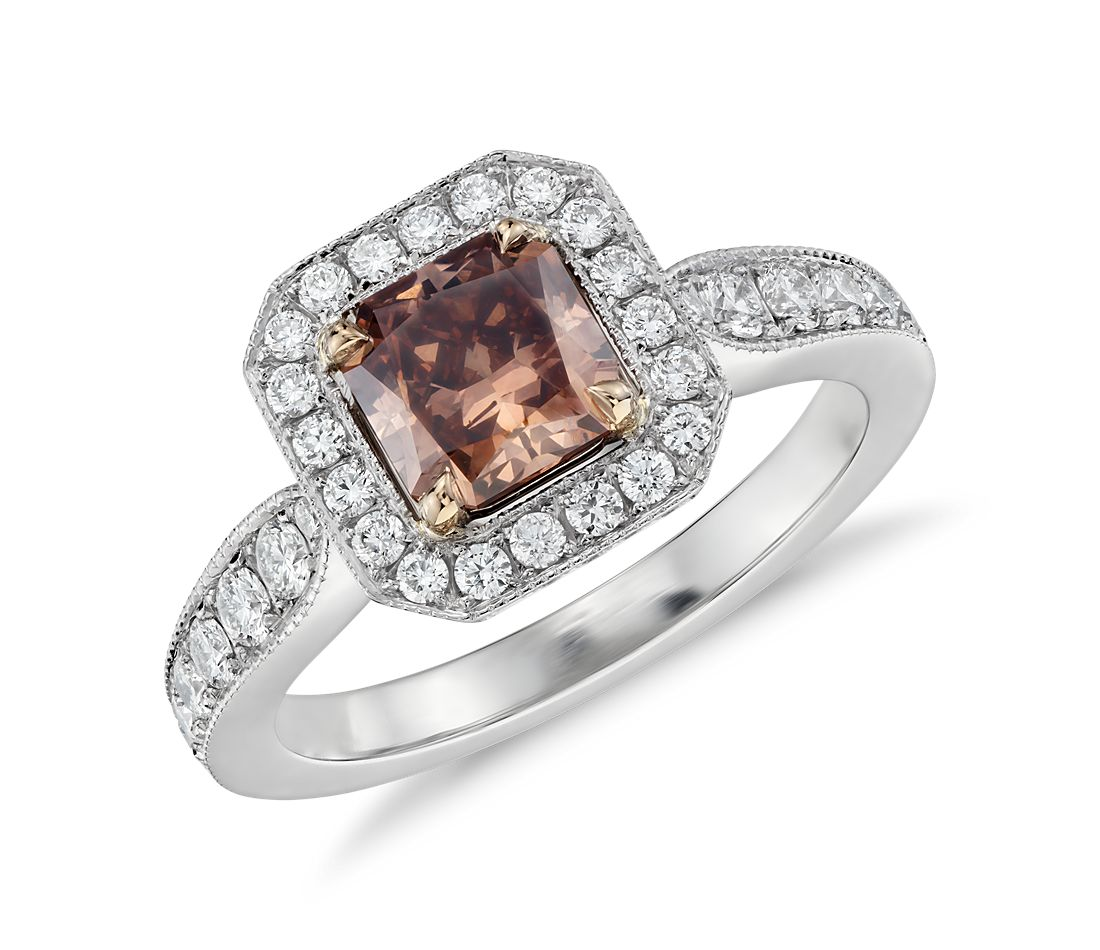 Fancy Color Radiant Cut Diamond Halo Ring in Platinum and 18k Rose Gold (1.01 ct. center)