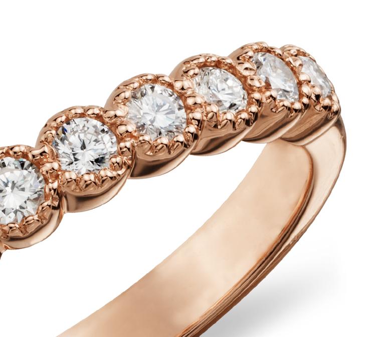 Bague diamant à millegrain en or rose 14carats