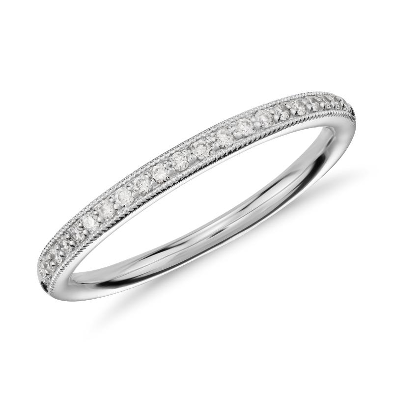 Riviera Pavé Heirloom Diamond Ring in 14k White Gold (1/8
