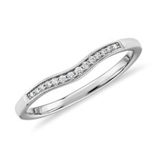 Graduated Milgrain Diamond Band in Platinum