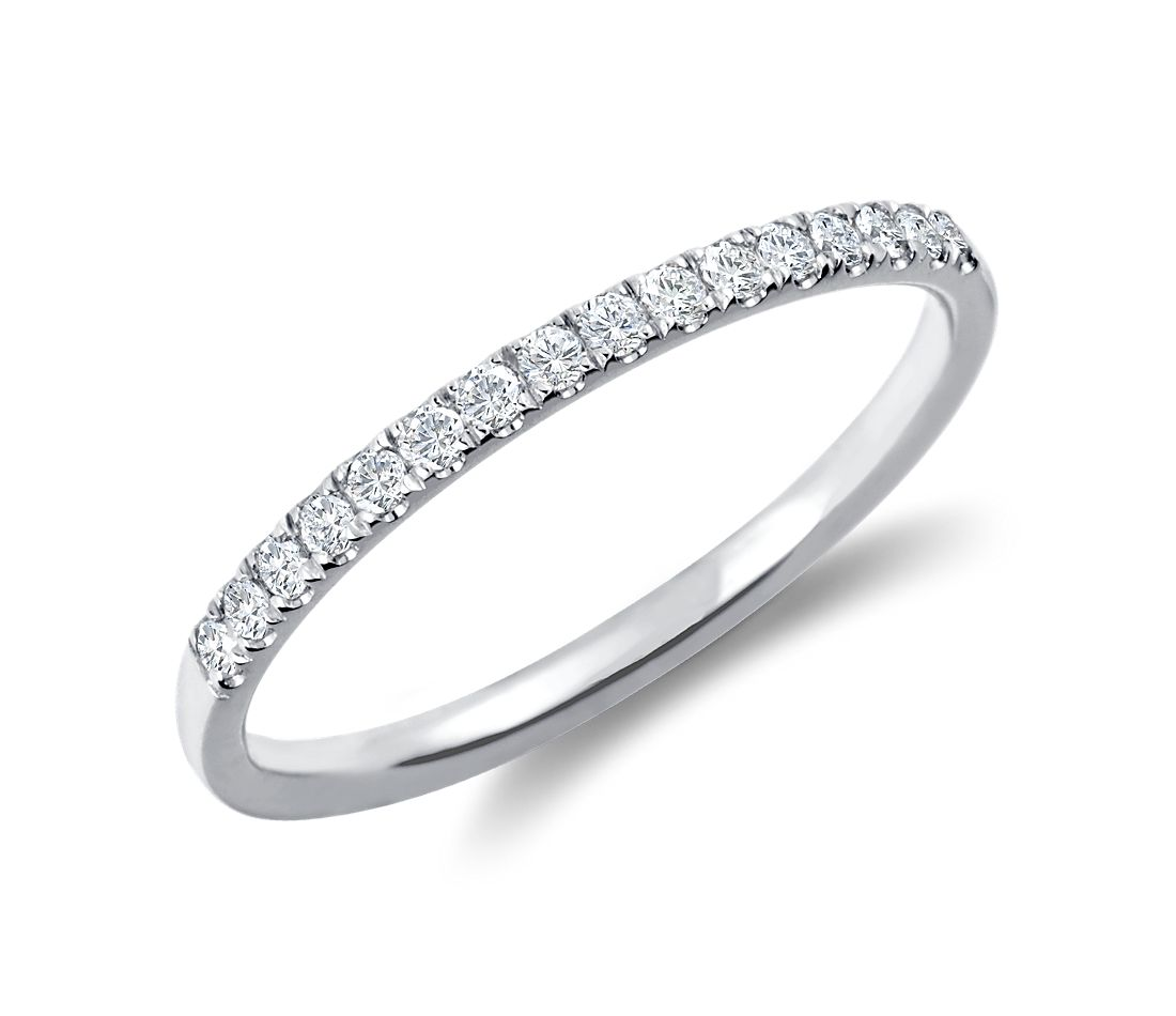 Petite Cathedral Pavé Diamond Ring in 18k White Gold
