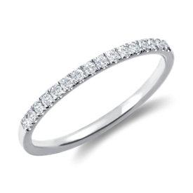 Petite bague en diamants sertis pavé monture cathédrale en or blanc 18carats (1/6carat, poids total)