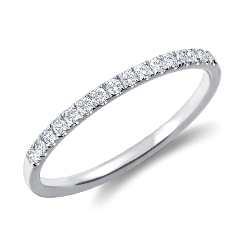 Petite Cathedral Pavé Diamond Ring in 18k White Gold (1/6
